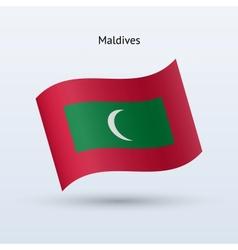 Maldives flag waving form vector