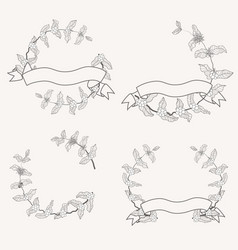 minimal doodle line art coffee branch and ribbon vector image