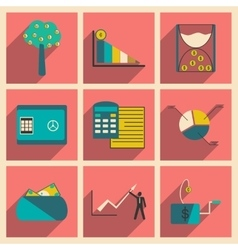 Modern collection flat icons with shadow economy vector image