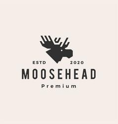 moose head hipster vintage logo icon vector image