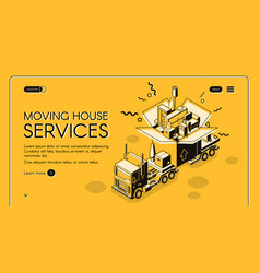 Moving house services webpage template vector
