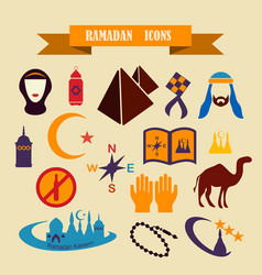 Multicolored icons with tape on topic ramadan vector