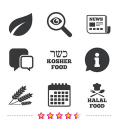 Natural food icons halal and kosher signs vector