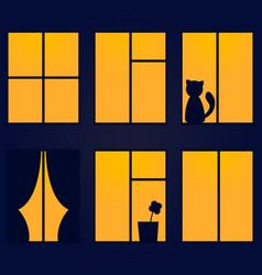 Night window vector