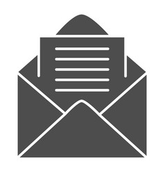 open envelope solid icon letter vector image