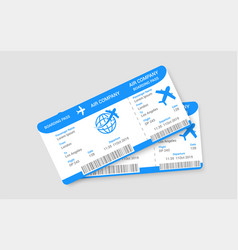 pair realistic airline tickets concept vector image