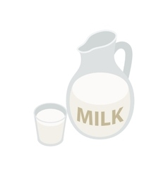 Pitcher and glass of milk icon isometric 3d style vector image