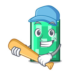 Playing baseball rectangle character cartoon style vector