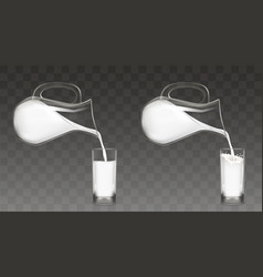 Pouring milk from jug into glass vector