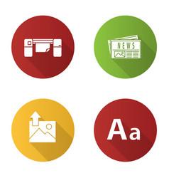 Printing flat design long shadow glyph icons set vector