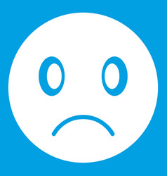 Sad emoticon white vector