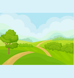 scenery with green meadows tree and bushes blue vector image