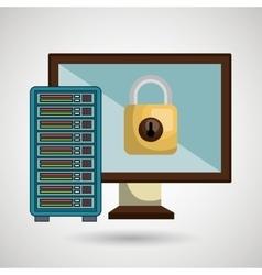 Screen pc server padlock vector