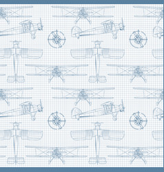 seamless background with vintage airplane in vector image