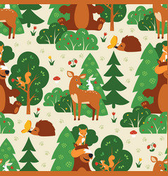 seamless pattern with cute wild animals in green vector image