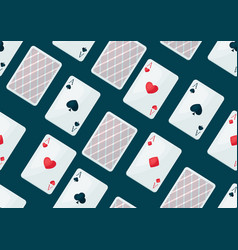 seamless pattern with four aces playing cards suit vector image