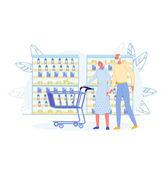 Senior man and woman choosing milk at grocery shop vector