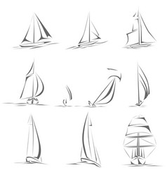 set of different sailing ships simple icons vector image