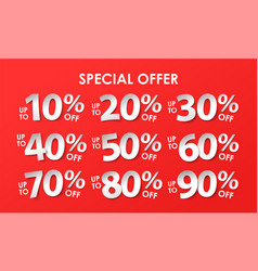 set of discount with percents in paper style vector image