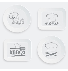 Set of plates on a white background vector
