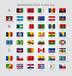 Set of sovereign state flags a-c vector