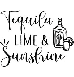 tequila lime sunshine on white background vector image