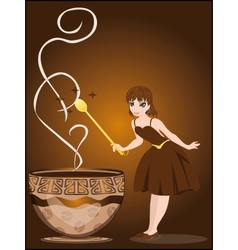The fairy conjures with a cup of coffee vector image vector image