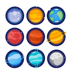 the planets of the solar system set icon mercury vector image