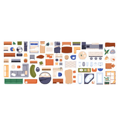 Top view of furniture icons for interior design vector