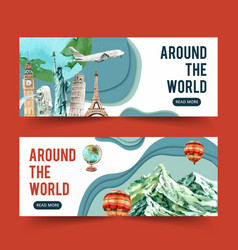 Tourism day banner design with merlion clock vector