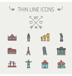 Travel thin line icon set vector image