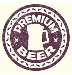 Vintage purple beer label stamp with text premium vector