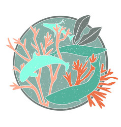 Whales in circle vector