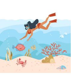 woman underwater diver summer activity young girl vector image