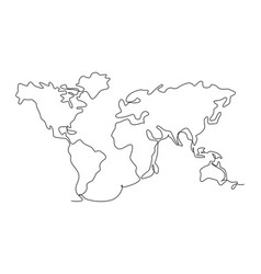 world map continuous one line drawing world vector image