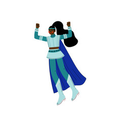 Young african american woman in blue superhero vector