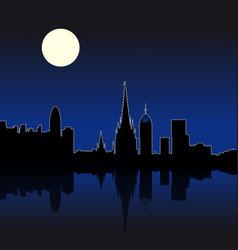 barcelona spain night skyline vector image vector image