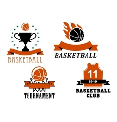 Basketball club and tournament emblem templates vector image vector image
