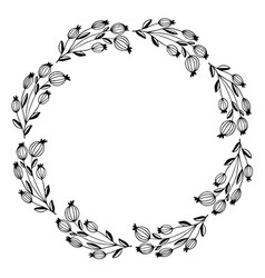 hand drawn of decorative wreath wildflower vector image vector image