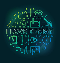 i love design colored round vector image vector image