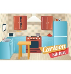 Kitchen Furniture Accessories Interior Cartoon vector image vector image
