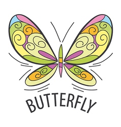 logo graceful butterfly flies vector image vector image