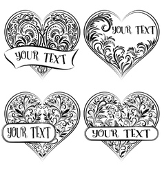 Valentine Holiday Outline Hearts vector image