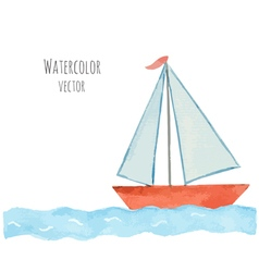 Watercolor boat with a flag on the blue waves vector image vector image