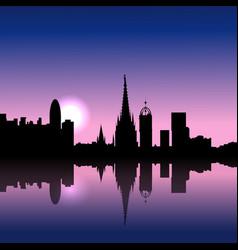 barcelona spain sunrise skyline vector image vector image