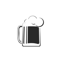 Black and white beer glass with foam icon vector image