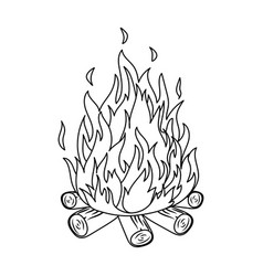 bonfiretent single icon in outline style vector image