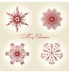 Christmas snowflakes vintage decor red vector image