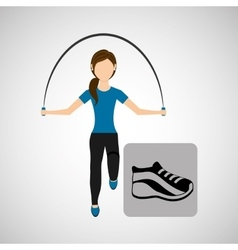 sport woman jumping rope sneaker vector image