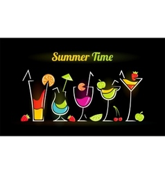 summer composition with cocktails vector image